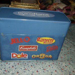 metal recipe box for name brand foods